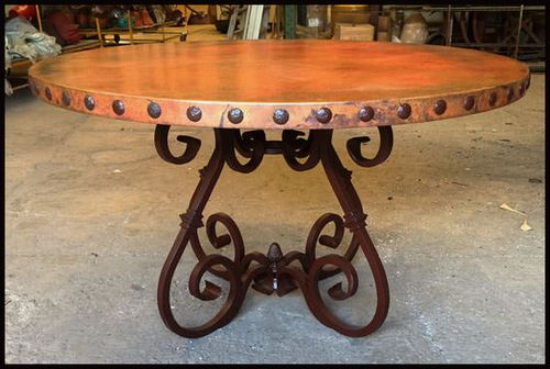 RUSTIC, ROUND COPPER DINING TABLE: Mexican, Hand-hammered ...