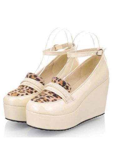 Stylish Leopard Splicing Design Ankle Strap Wedge Platform Pumps Beige on sale only US$14.36 now, buy cheap Stylish Leopard Splicing Design Ankle Strap Wedge Platform Pumps Beige at martofchina.com