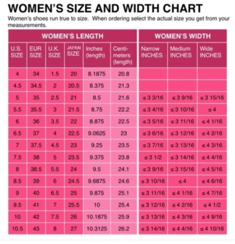 Womens Shoe Size Conversion Chart Us Uk European And Japanese Width Length Shoe Size Conversion Shoe Size Chart Shoe Size