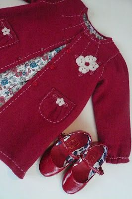 Love this precious little red coat...the lining...& the mary janes!