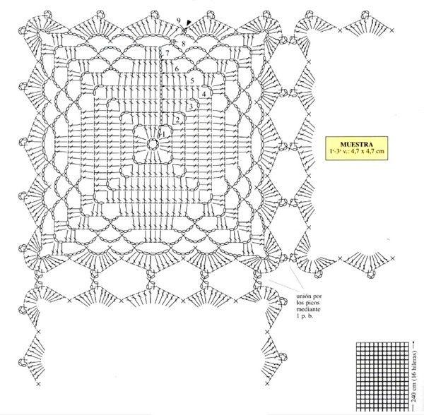 motivo-en-crochet-con-patron-1 | tejido | Pinterest | Patrones ...