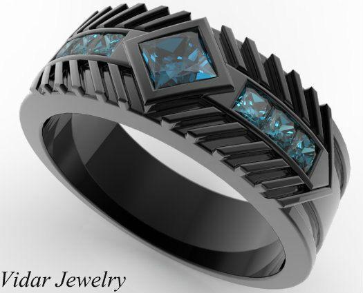 Photo of Men's Wedding Band 14K Black Gold Square Blue Diamond, Blue Diamond Wedding Ring, Man Wedding Ring, Black Man Engagement Ring