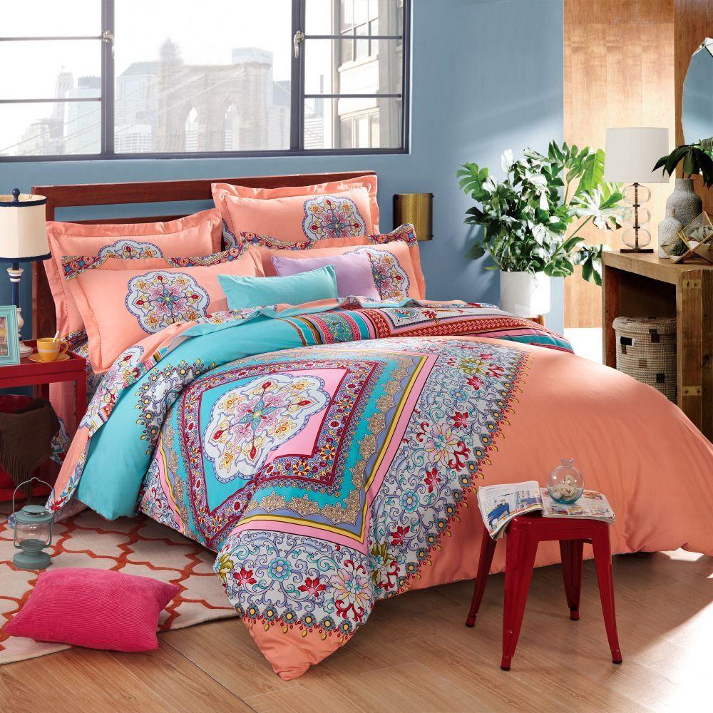 Coral Blue Bohemian Pattern Bedding Set For Twin Bed With Teak
