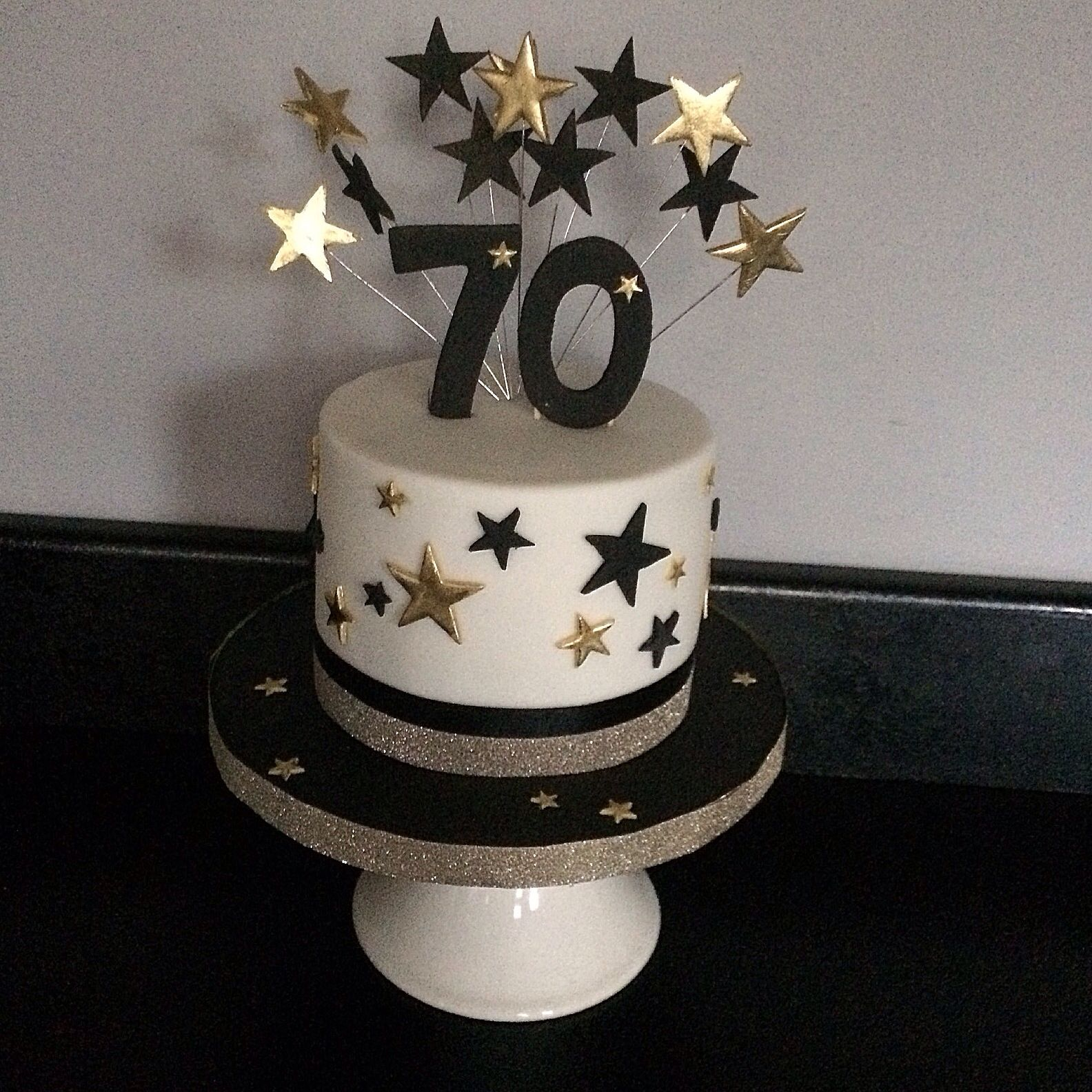 Mini 70th Birthday Cake Black And Gold