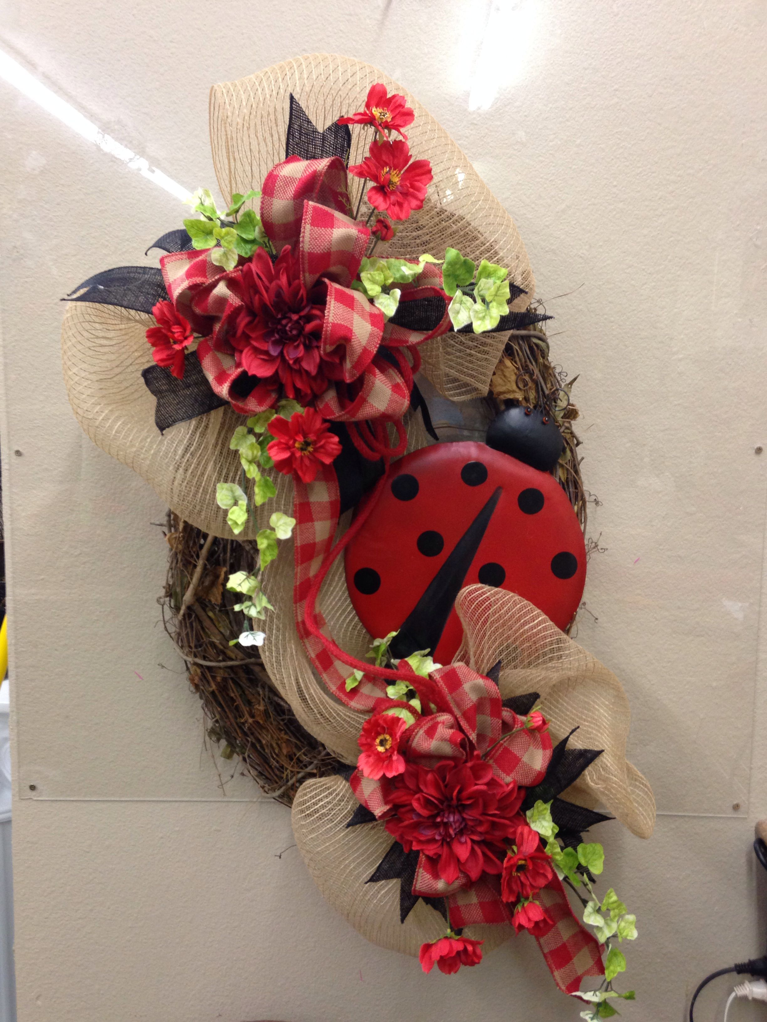 Lady bug on grapevine Spring wreath, Summer door wreaths