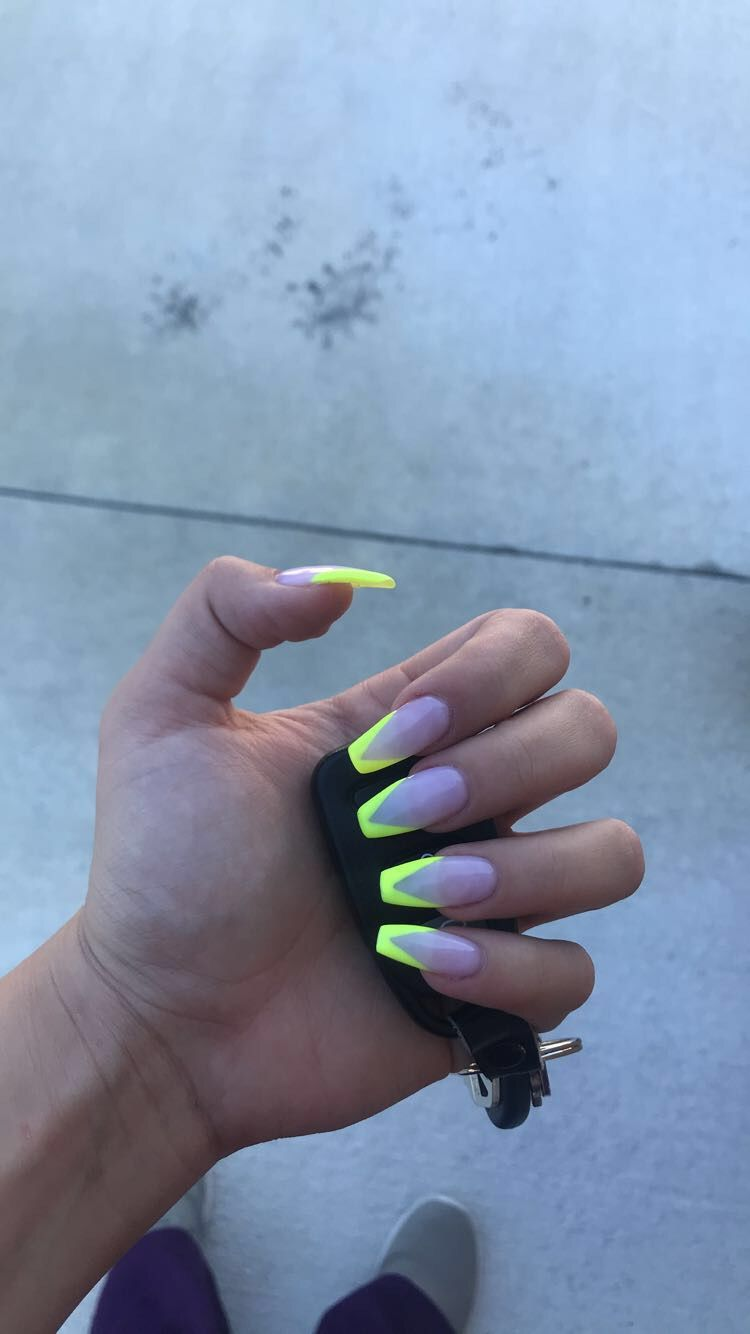 Simple Summer Coffin Acrylic Nails Yellow Nails Green