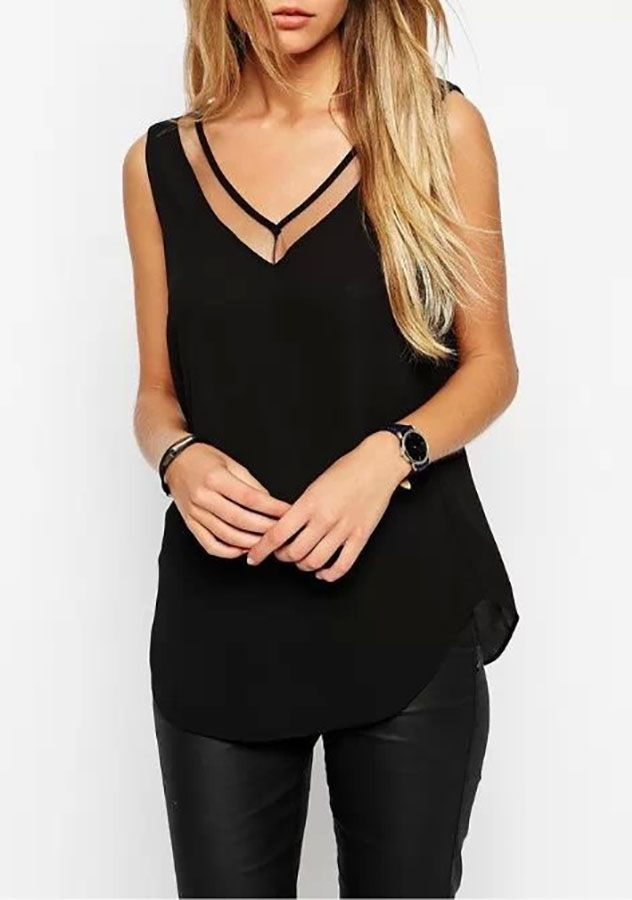Womens Chiffon Sleeveless Top Blouse | Womens Dressy Tank Tops ...