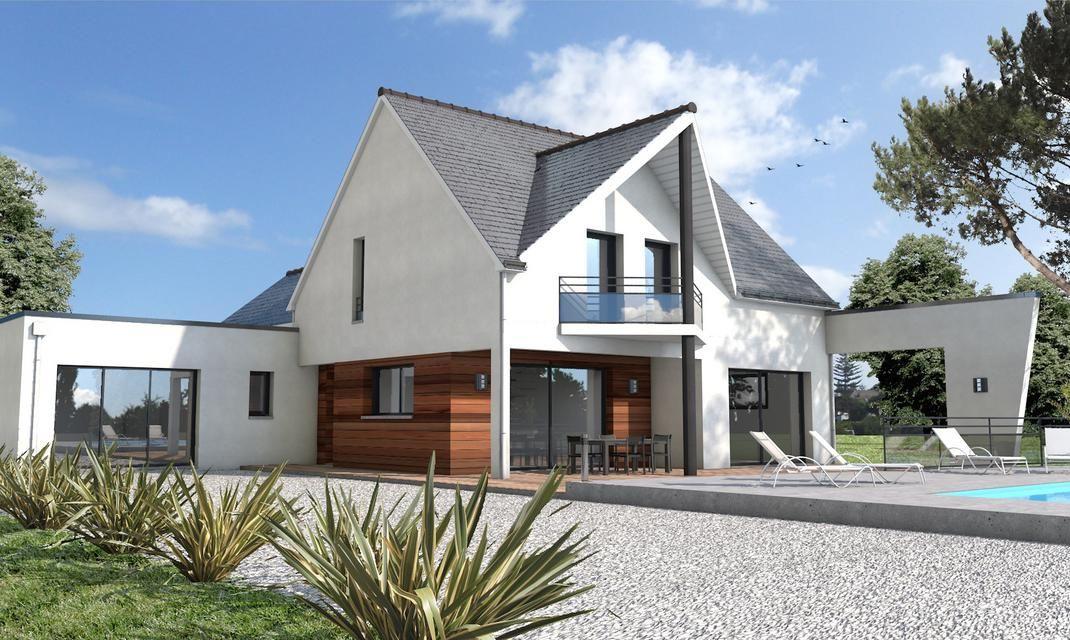 maison toit double pente et toit plat loire atlantique Idée maison