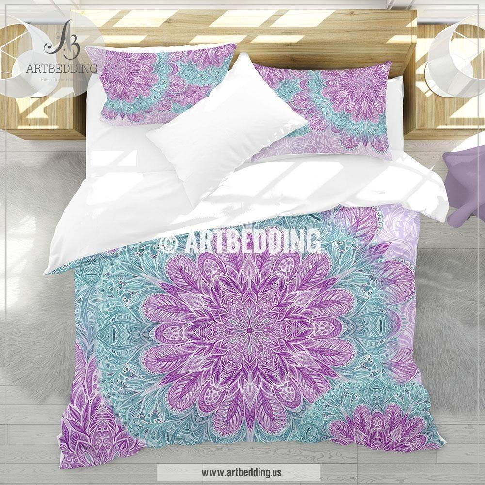 Boho Mandala Bedding Purple And Light Teal Watercolor Mandala