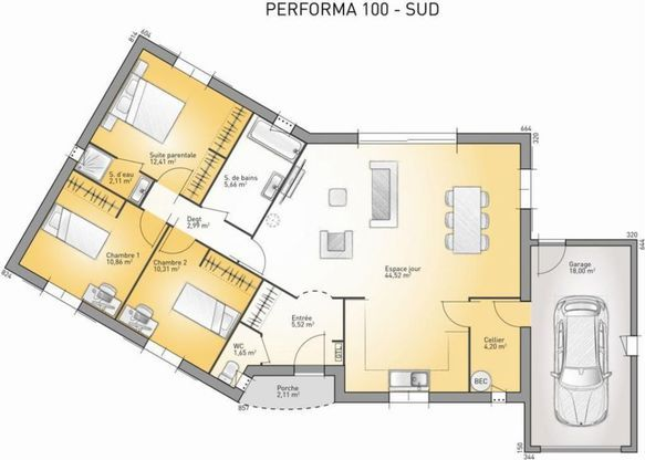 Modèle de maison Performa 100 -  Retrouvez tous les types de maison - plan de maison de 100m2 plein pied
