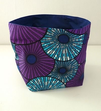 Corbeille   panier de rangement  vide-poche, réversible, en tissu - meuble vide poche design