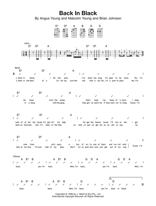 Ac Dc Back In Black Sheet Music Notes Chords Score Download Printable Pdf Sheet Music Notes Guitar Chords For Songs Guitar Tabs Songs
