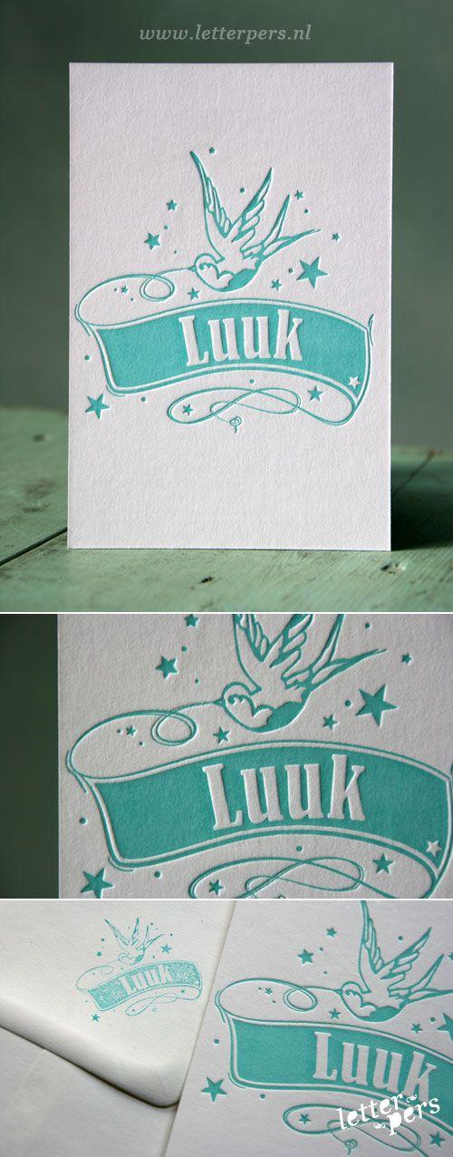 Geboortekaartje van onze zoon Luuk gemaakt door Letterpers #zwaluw #mintgroen #diepdruk