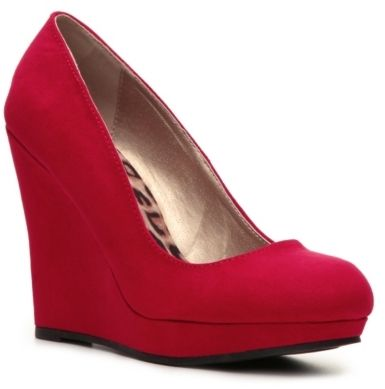 Red Suede Wedge Pumps by Qupid. Buy for $44 from DSW