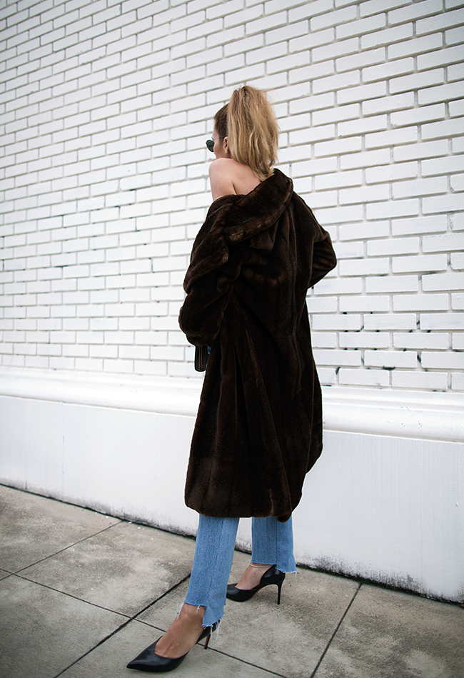 Faux Fur - Reformation, Bag - Gucci, Tank - Trois, Denim - Vetements, Heels - Céline
