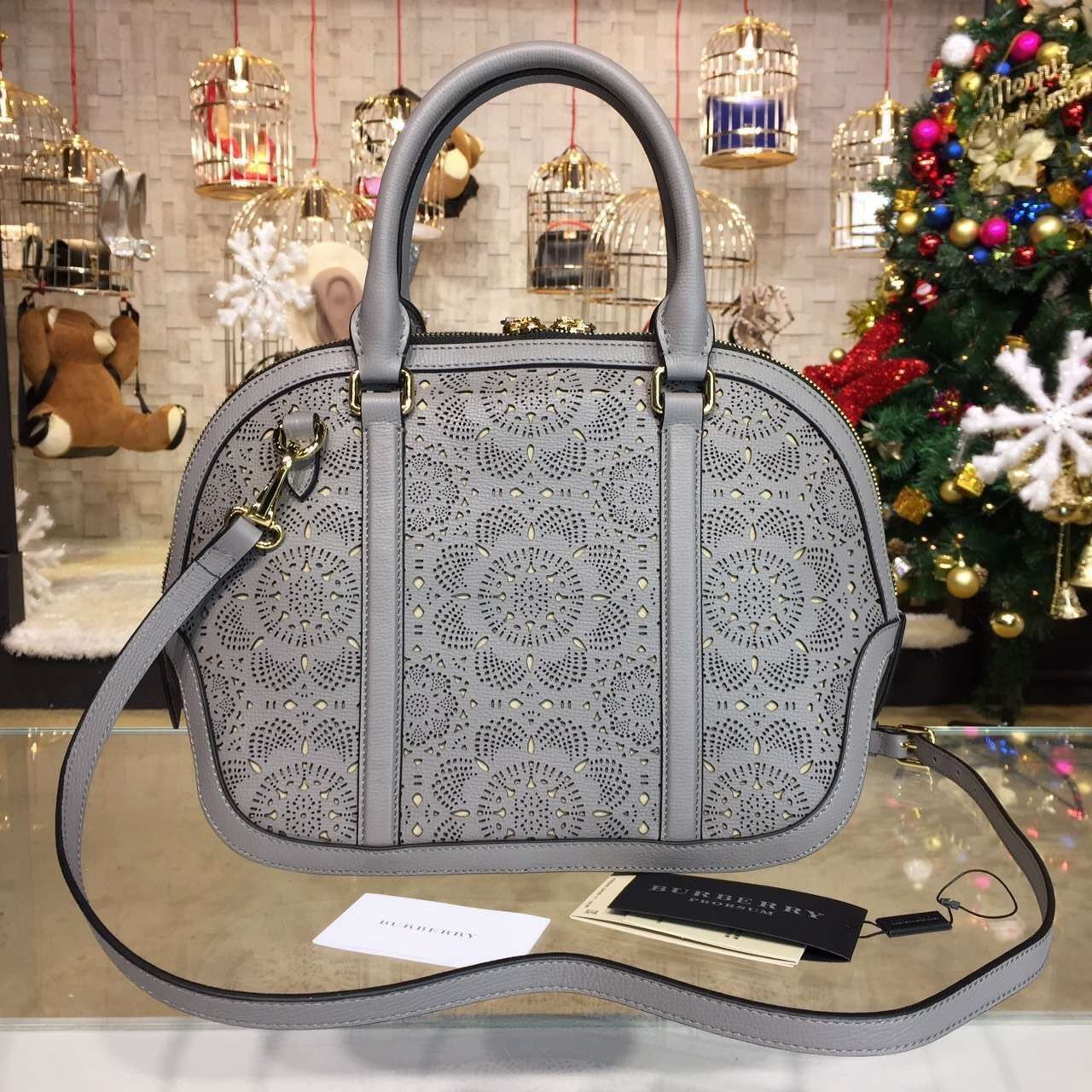 Burberry Small Orchard Bowling Bag In Lace Leather Grey S S 2016 ... 7e80241850222