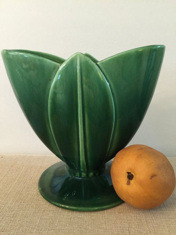 Royal Haeger Green Vase R1523 Made In Usa Art Deco Style Mid
