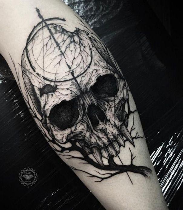 Gothic Tattoo On Arm Gruselige Tattoos Tattoo Toten Kopf Gotik Tattoo