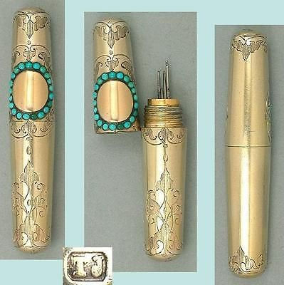 Antique-Gilded-Sterling-Silver-Turquoises-Needle-Case-English-Circa-1850s