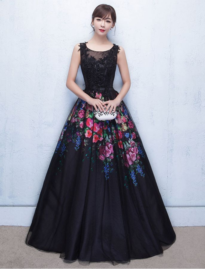 bb3ac764eb5 Grace Kelly Inspired Elegant Floral Prom Dress