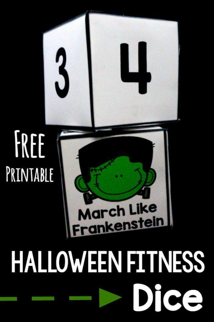 Halloween Fitness Dice {FREE DICE   Gross motor, Free printable ...