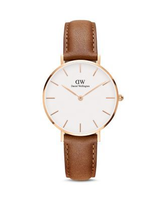 Daniel Wellington Classic Petite Leather Watch, 32mm – White/Brown