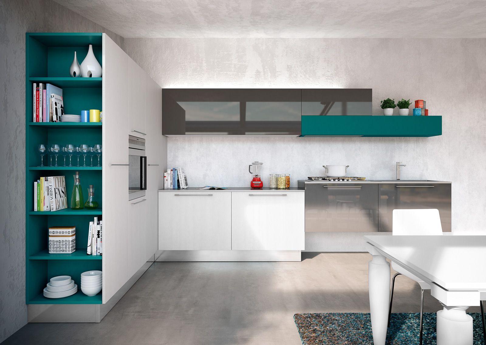 Cucine Con Elementi Colorati Mensole Vani A Giorno Profili Cose Di Casa Cucine Moderne Cucina Moderna Ristrutturazione Cucina