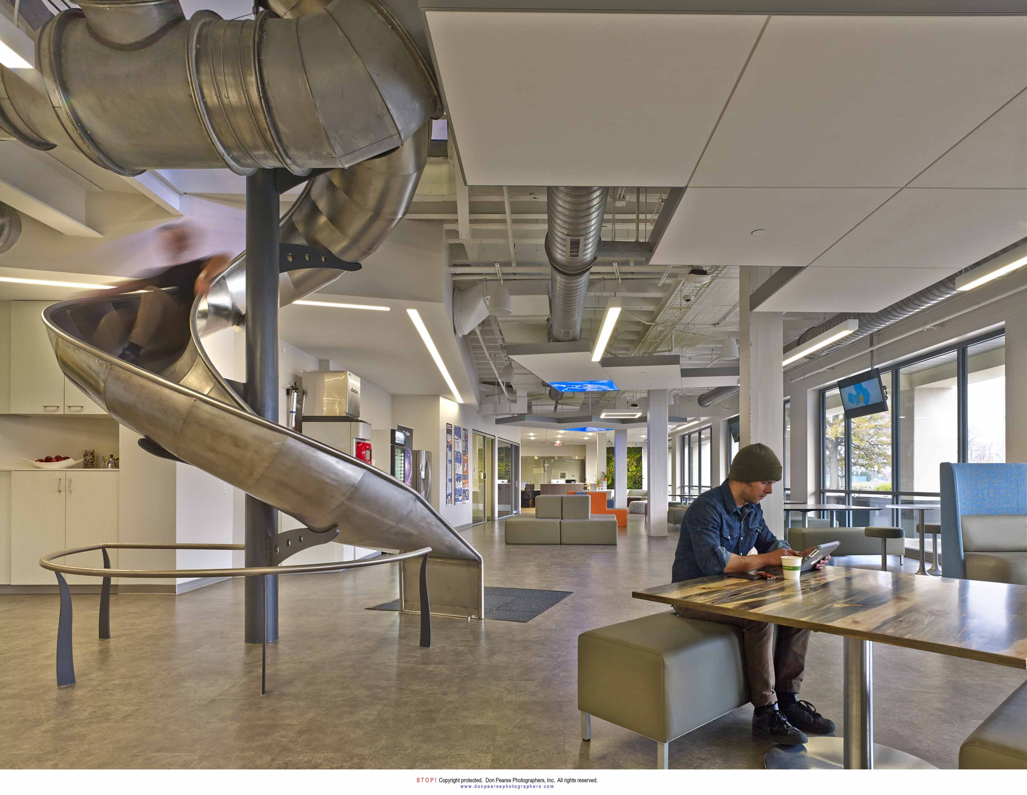 SevOne Delaware Spiral Slide and Work Play Space Design by