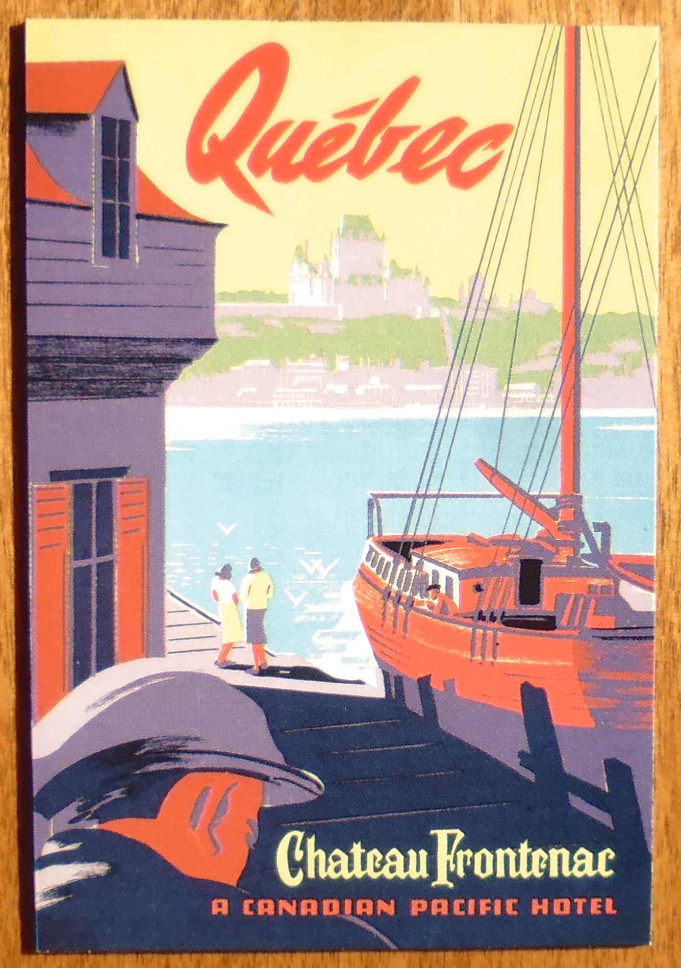 Quebec Chateau Frontenac Canada Vintage Canadian Travel Advertisement Poster