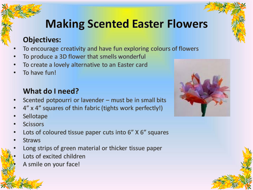 Creating Scented Easter Flowers Ks1 Care Home Ideas Pinterest