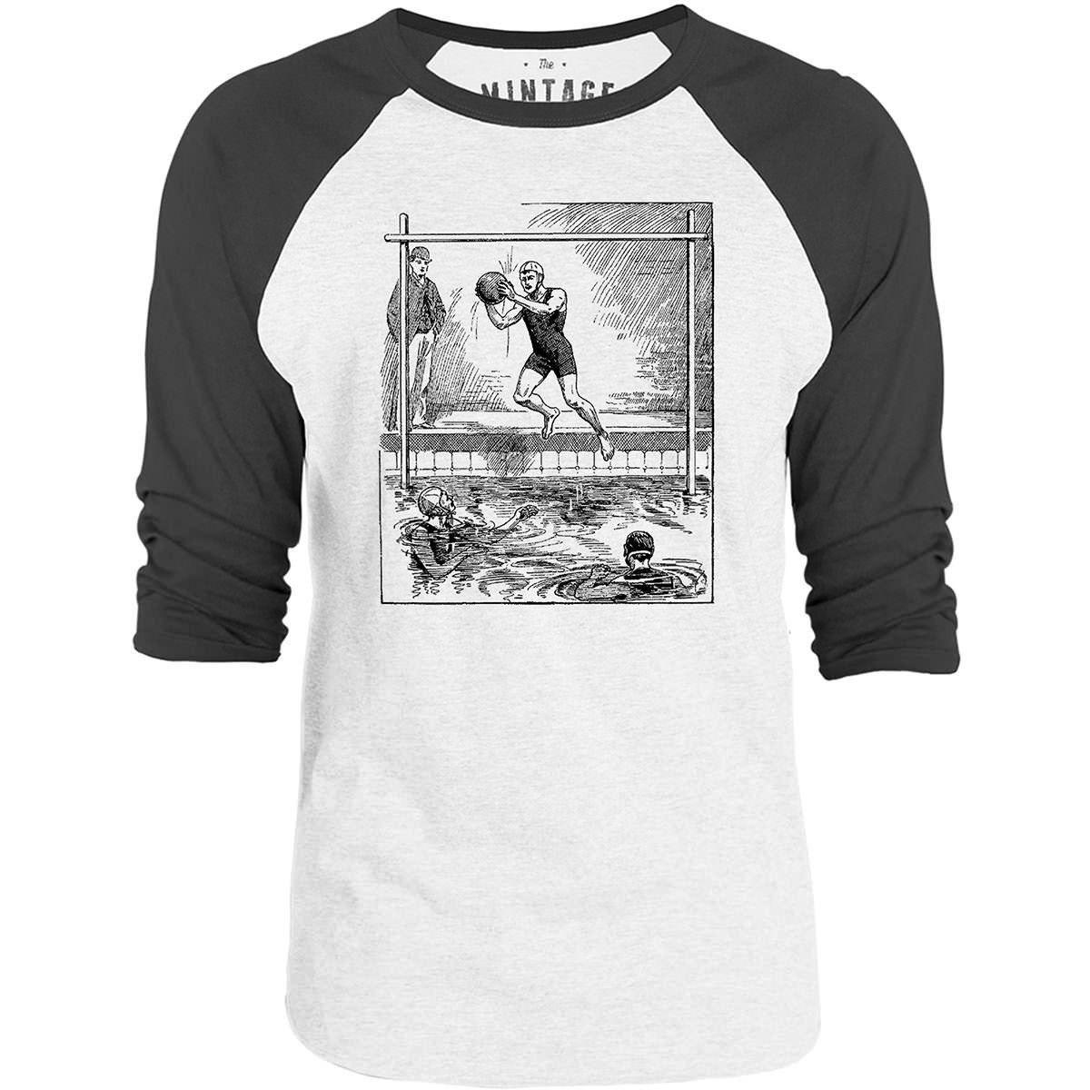 Mintage Vintage Water Polo 3/4-Sleeve Raglan Baseball T-Shirt (White / Concrete)