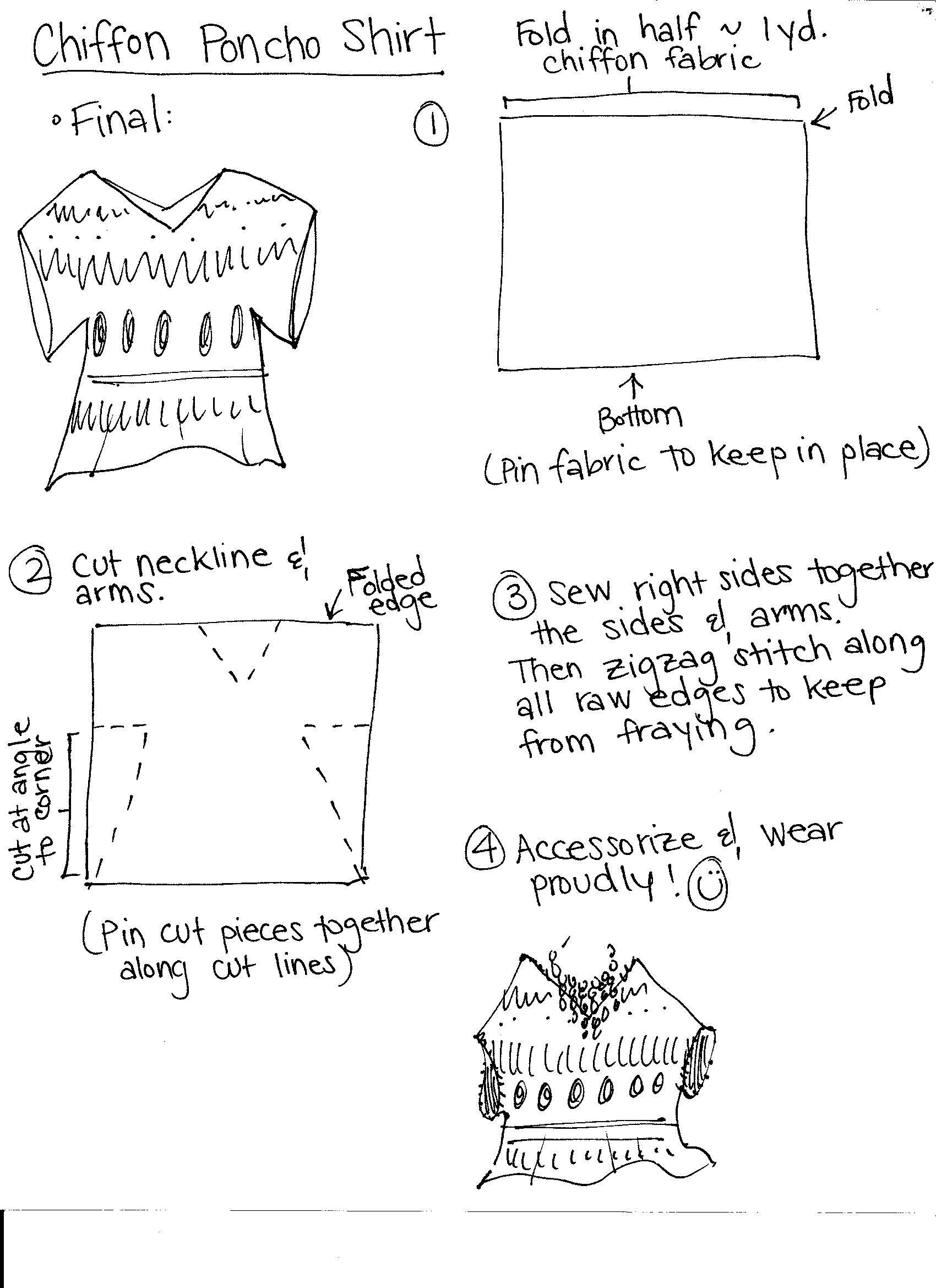 Easy DIY Chiffon Shoncho (Poncho-Shirt) | Couture und Nähen