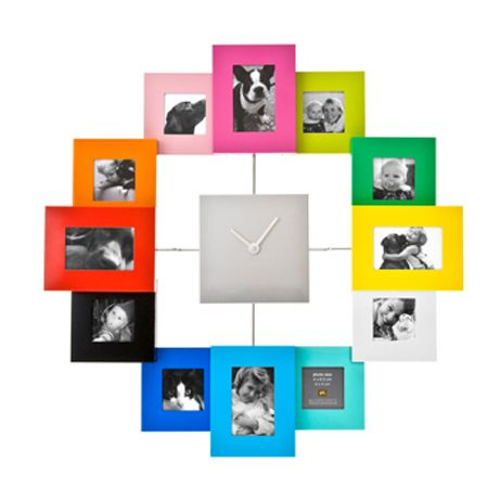 multi coloured family time photo frame wall mounted clock 39.99 ...