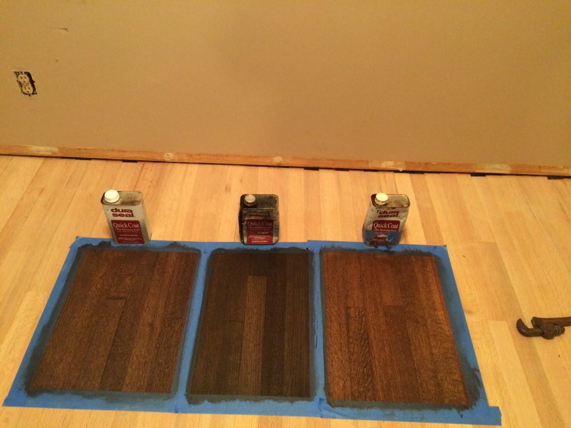 Coffee brown and ebony stain. I don't know the third one! We chose coffee brown for our house!!!!!