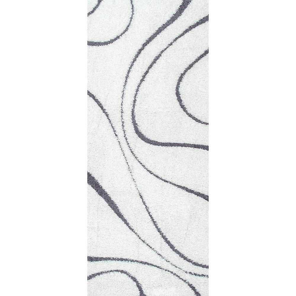 Nuloom Carolyn Contemporary Curves Shag White 3 Ft X 8 Ft Runner
