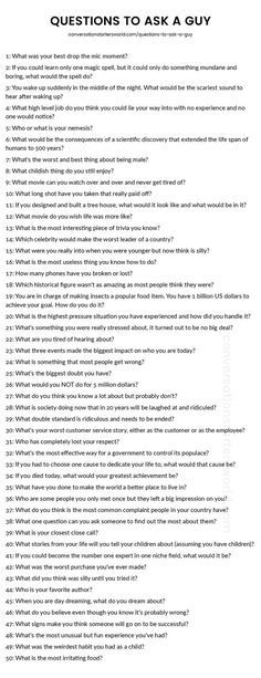 Questions to ask a man when getting to know him