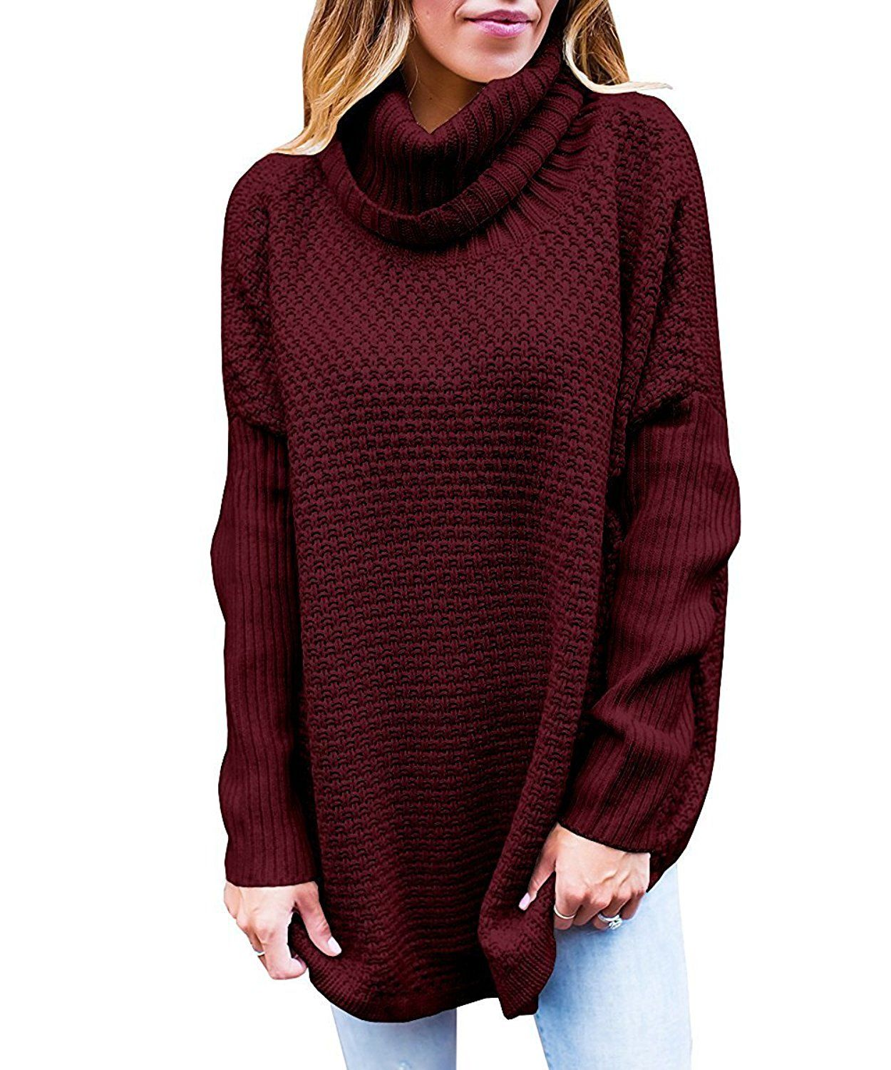 JOYCHEER Women Turtleneck Sweater Pullover Cable Knit Oversized ...