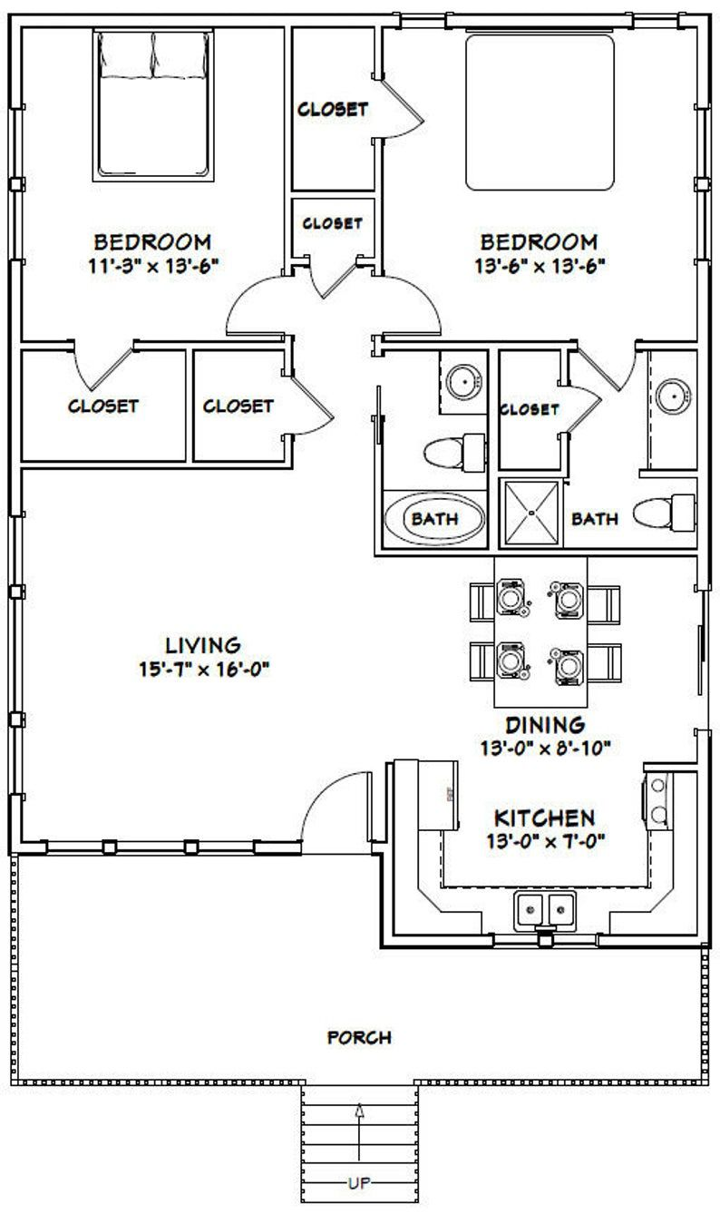 30x40 House 2Bedroom 2Bath 1,136 sq ft PDF