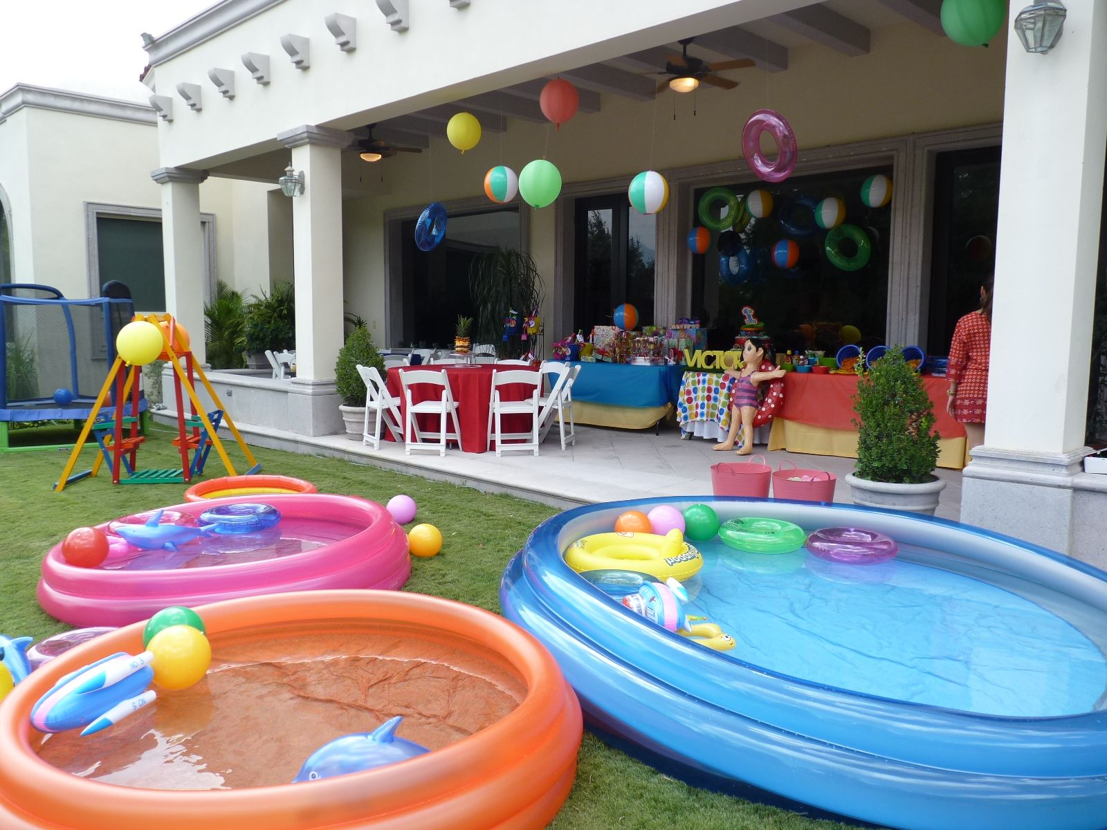 Pool Party Ideas For Kids pool party ideas kids a joint summer birthday pool party pool party noodle race Layout Backyard 1 Kid Pool 2 Medium Pools 1 Large Pool Spiral