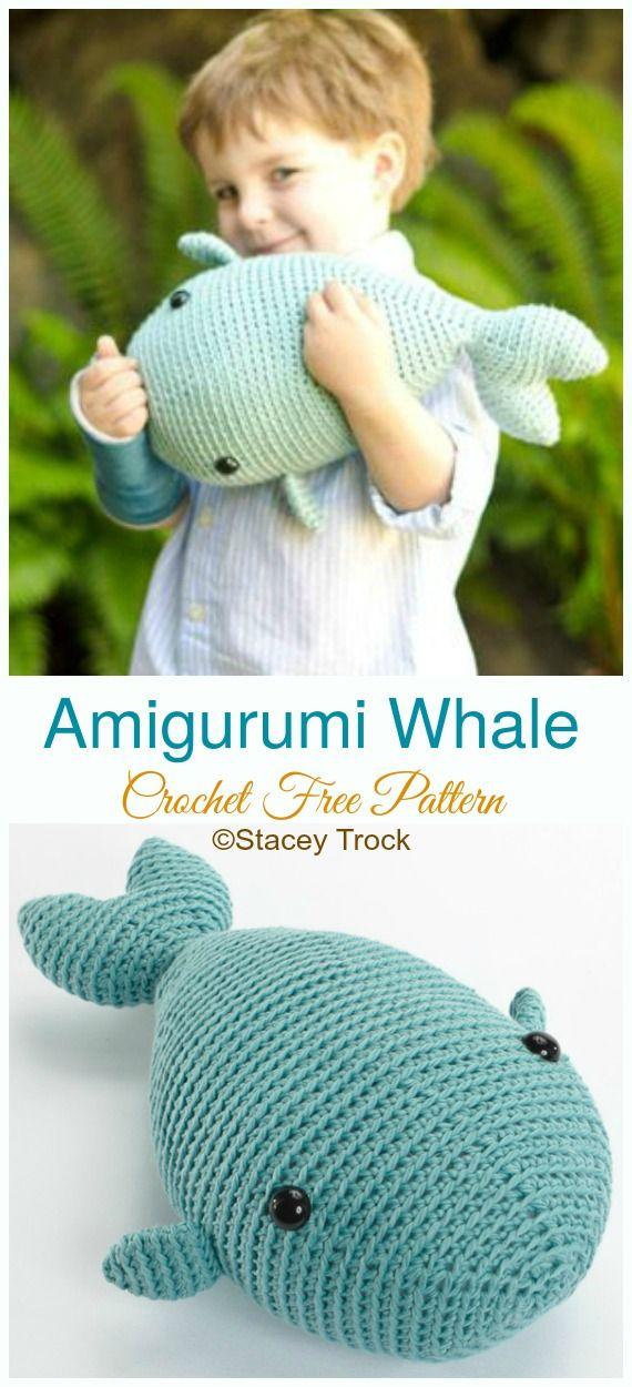 Amigurumi Whale Crochet Free Pattern - Crochet SeaLife Toys #freepattern