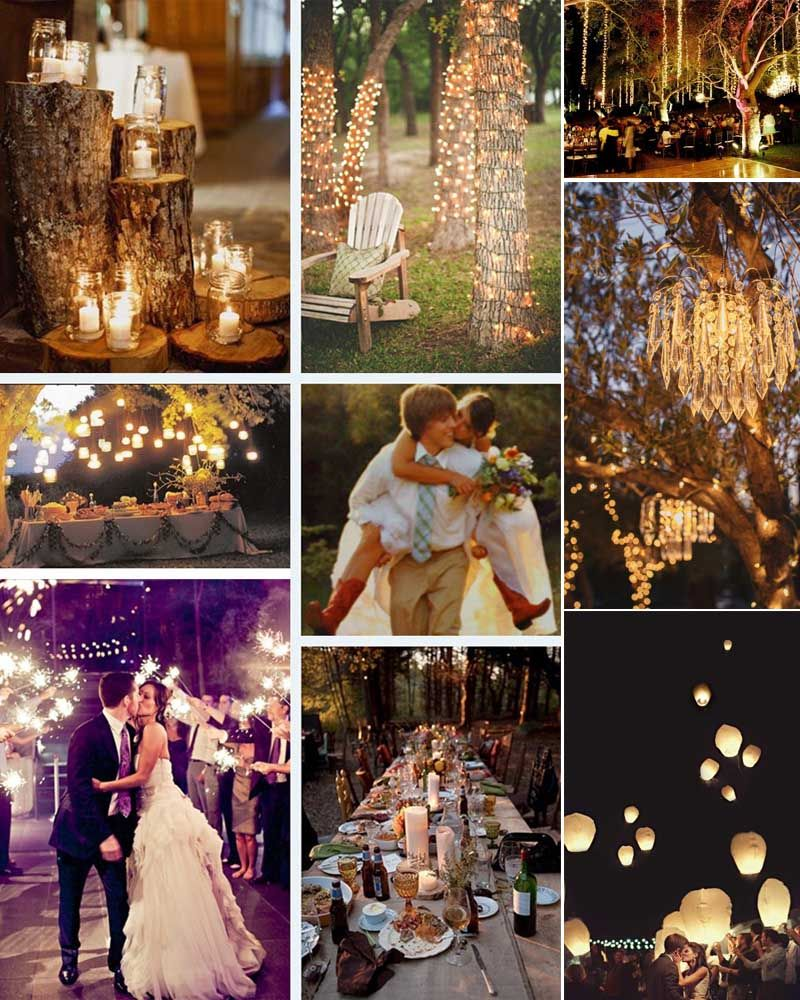 Outdoor At Night Wedding Inspiration ~ Tree Trunks Wrapped With White  Lights. I Like The Idea Of A Long Table With Lots Going On In The Middle.