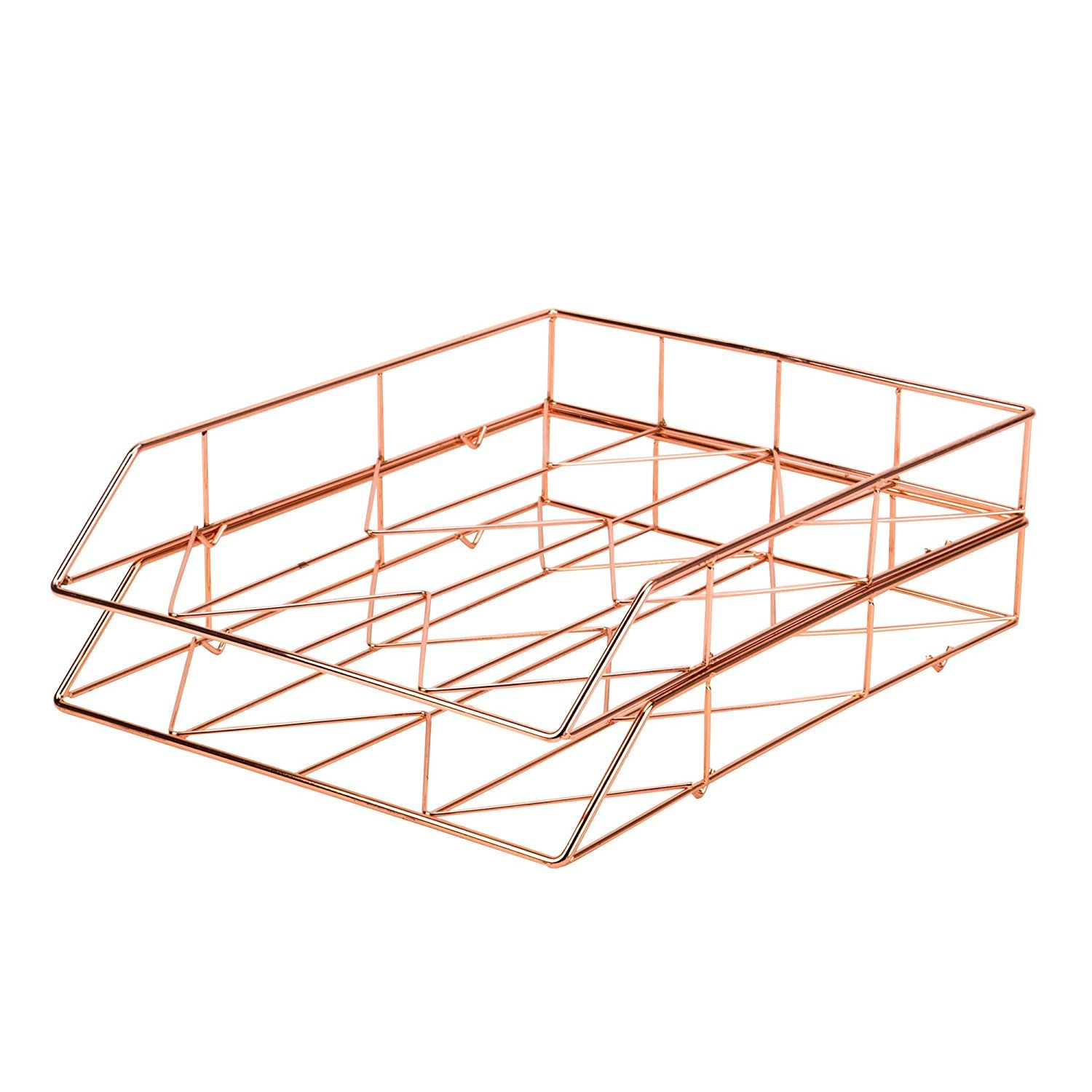Amazon Com U Brands Hanging File Desk Organizer Wire Metal Copper Office Products Letter Tray Wire Letters Gold Desk Accessories
