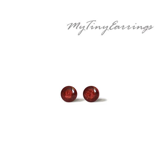 Carmine Stud Earrings Mini Tiny Shimmery 3 mm  by MyTinyEarrings