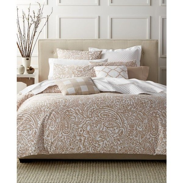 Charter Club Damask Designs Paisley Taupe Twin Comforter Set, (€91) ❤ liked on Polyvore featuring home, bed & bath, bedding, comforters, taupe, taupe comforter, paisley comforter, twin bedding, damask comforter and tan comforter