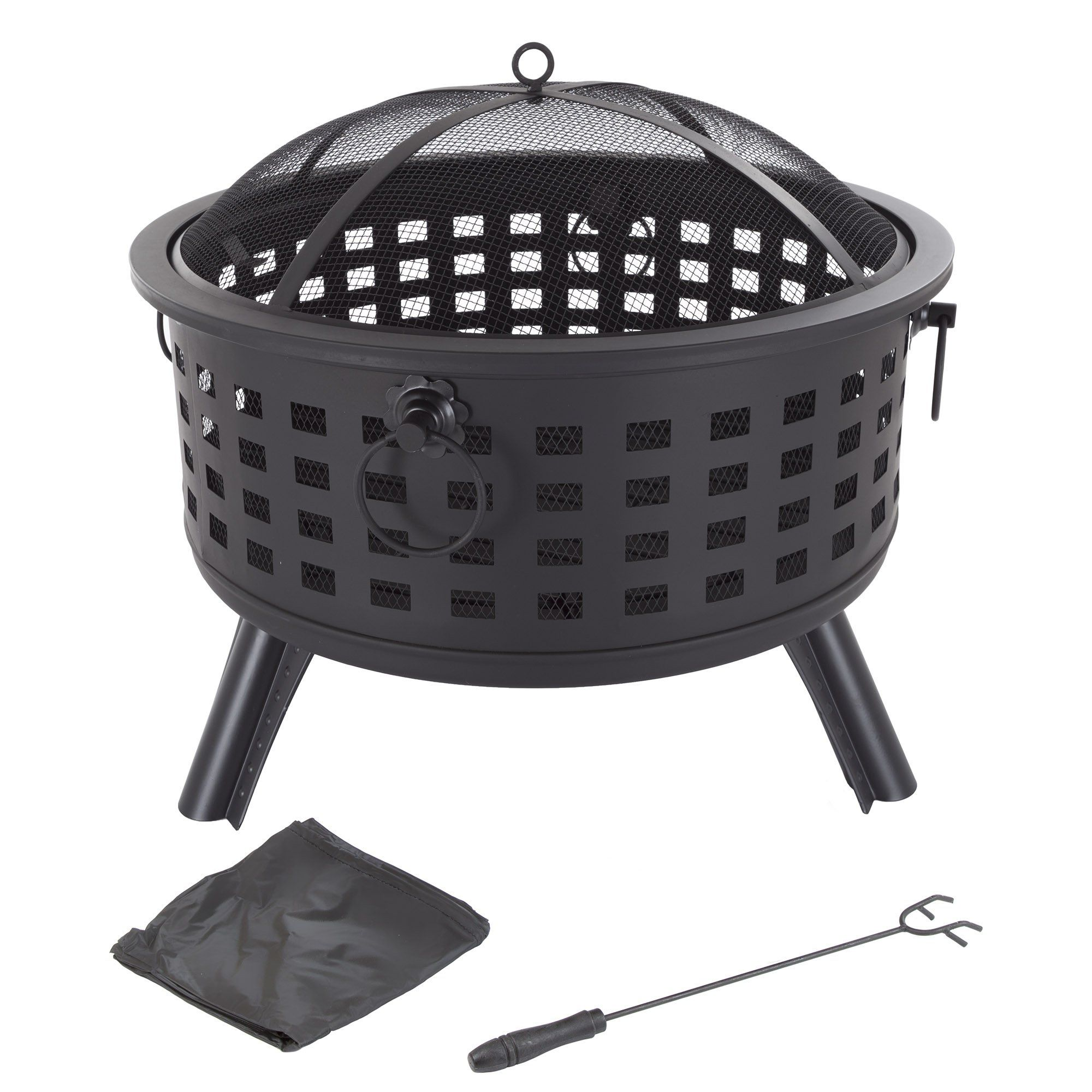 Fire pit set wood burning pit includes spark screen and