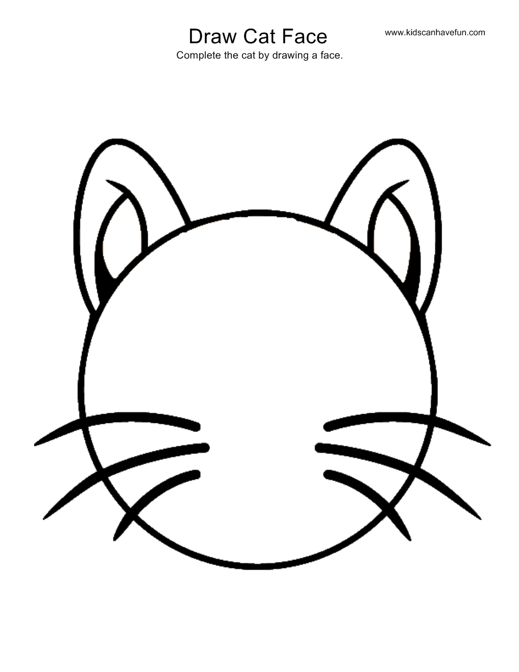 Scribble Drawing Exercise : Draw cat face activity more drawing pages of animals