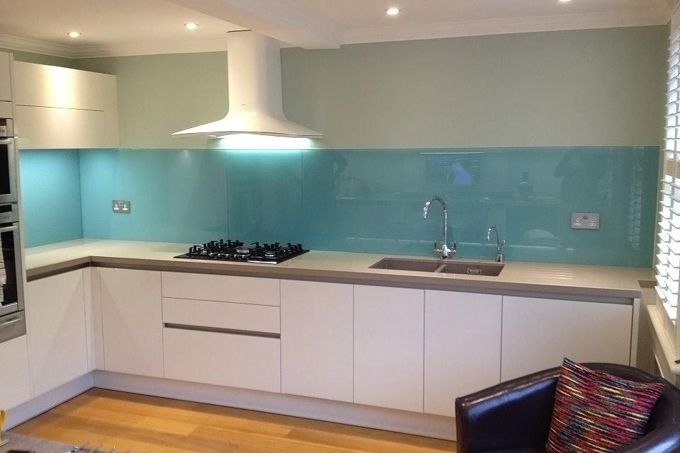 Light Blue Glass Splashback Fitted By Easy Glass