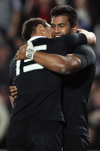 Julian Savea of the All Blacks celebrates with Israel Dagg after scoring a try during the International Test Match between the New Zealand All Blacks and Ireland at Eden Park on June 9, 2012 in Auckland, New Zealand.