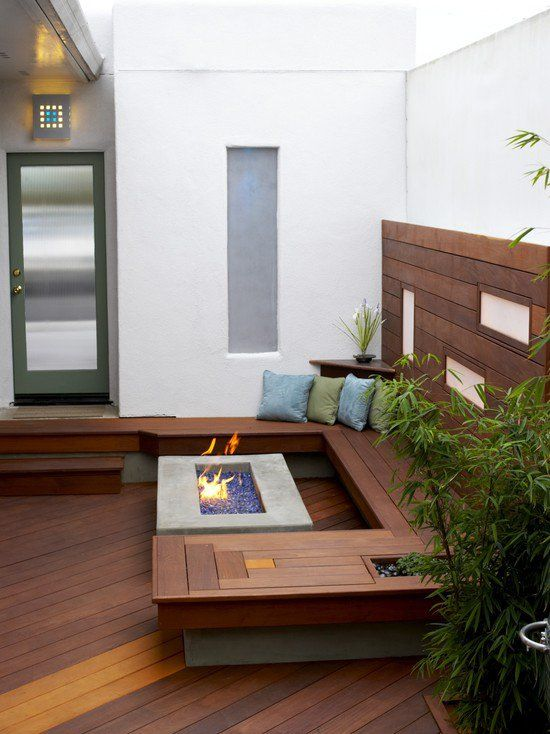 modern deck ideas small space fireplace benches Decking