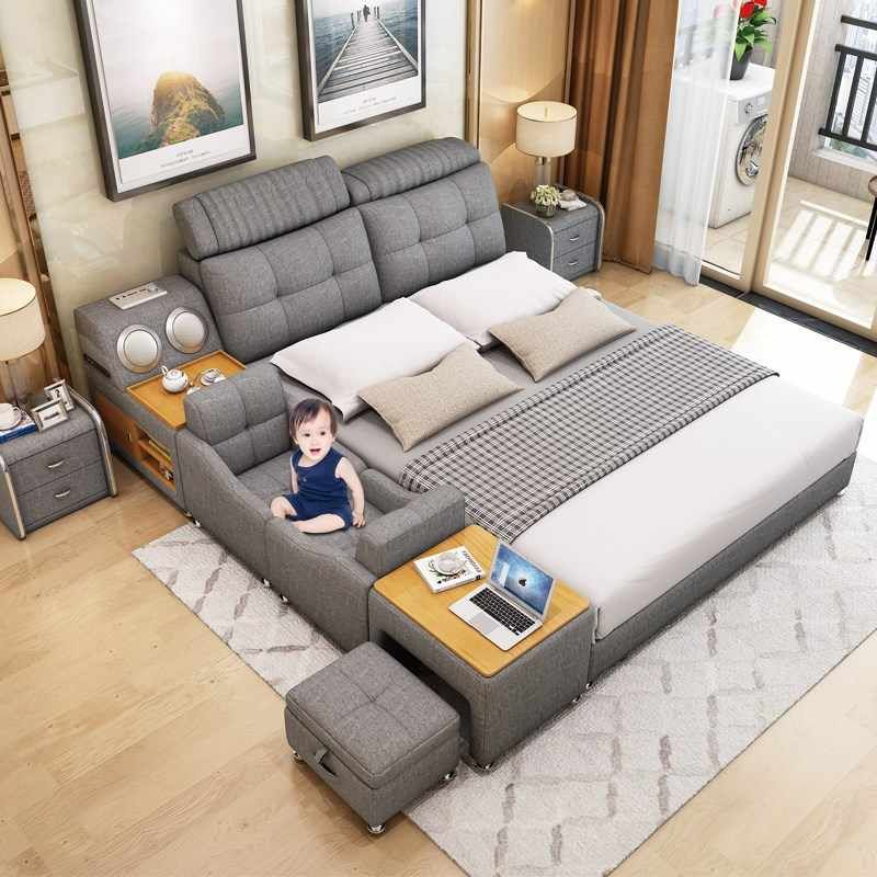Modern Multi Color Smart Real Leather, Smart Bed Queen Size